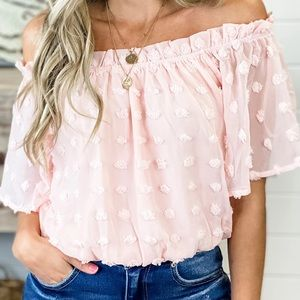 Of the shower Swiss dot crop blouse (pink)